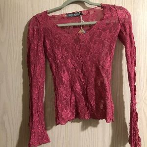 Beautiful dark pink lace top.
